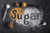 Three types of sugar and the word Sugar written with them