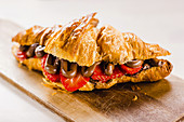 Croissant with chocolate and strawberry