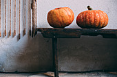 Two pumpkins on rustic wooden bench
