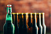 Group of beer bottles shoot