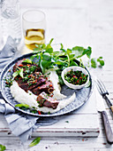 Quick Spice-Rubbed Lamb with Cauliflower Puree