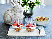 Toasted Muesli with Roast Rhubarb and Strawberries