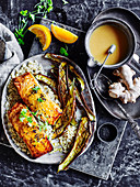 Salmon with Miso and Ginger Marinade