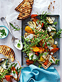 Vegetable, BBQ Halloumi and Rocket Salad