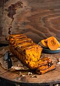 Pumpkin pull-apart bread with walnuts