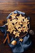 Swedish ginger cookies in a star shape