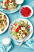 Barley and avo salad with roasted cauliflower and pomegranate