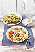 Pasta with courgette and chery tomatoes