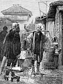 Fish market in Japan, 19th century