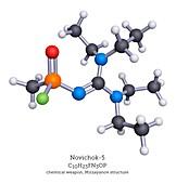Novichok-5 nerve agent, molecular model
