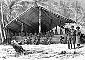 Solomon Islands communal building, 19th century