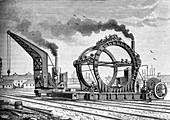 Building the Forth Bridge in Scotland, 19th century