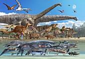 Dinosaur sizes, illustration