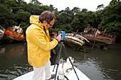 Boat graveyard laser scanning, France