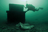 Diver with marine waste polluting the seabed