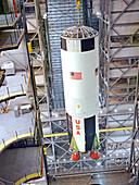 Saturn V first stage erection, 1967