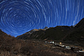 Star trails over giant panda habitat in China