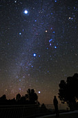 Jupiter and Orion in night sky