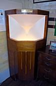 Speaker horn in cabinet