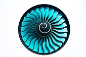 Aircraft engine fan in white wall