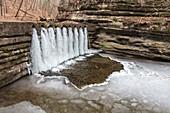 Waterfall in winter, Illinois, USA