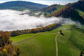 Clouds over rural landscape in Switzerland