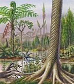 Carboniferous landscape, illustration