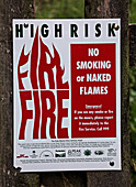Fire risk warning sign