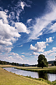 Cumulus and cirrus clouds over a river