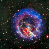 Supernova remnant and neutron star, composite image