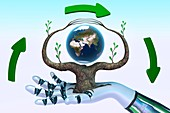 Robots caring for the Earth, conceptual illustration
