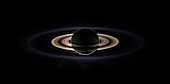 Saturn and its rings, backlit Cassini image
