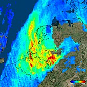 Nitrogen dioxide over the Netherlands, 2017 satellite image