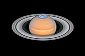 Aurorae on Saturn, composite image