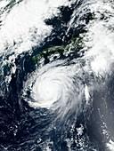 Typhoon Jebi approaching Japan, satellite image