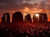 People gathered at Stonehenge, illustration