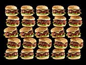 Stacks of hamburgers