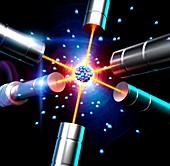 Atom suspended by lasers, illustration