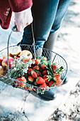 Frau trägt Korb mit frischen Erdbeeren und Äpfeln