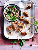 Turkey koftas with fig and brown rice pilaf