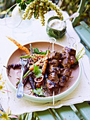 Carrot salad with indian-spiced lamb