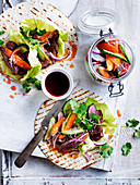 Pickled vegetables with korean steak tacos