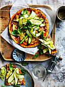 Mozzarella and zucchini cauliflower pizza