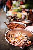 Chicken feet in bowl, Local Market in Xinjie (Yuanyang, Yunnan Province, China, Asia)