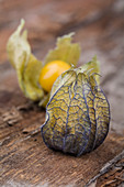 Physalis on a wooden surface (close-up)