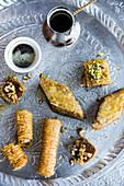 Baklava aus Bosnien mit Kaffee