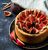 Apple flan tart with caramelised figs