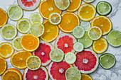 Various citrus fruit slices (full frame)