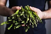 A person holding fresh green asparagus spears