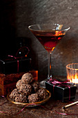 Bourbon Manhattan Truffles with classic Manhattan Cocktail